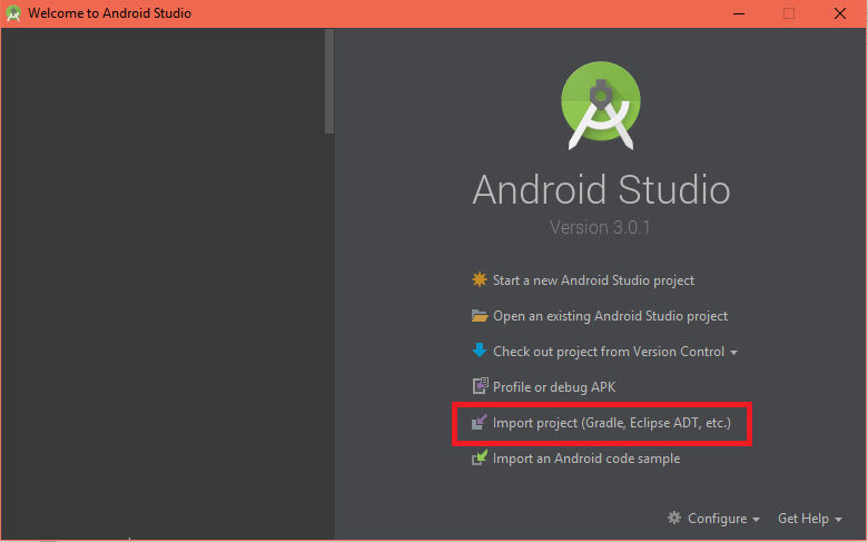 android_studio_welcome image