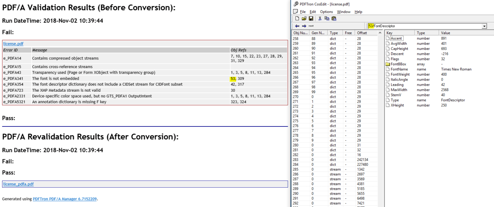 PDF/A Converter Report and CosEdit Tool Window side-by-side
