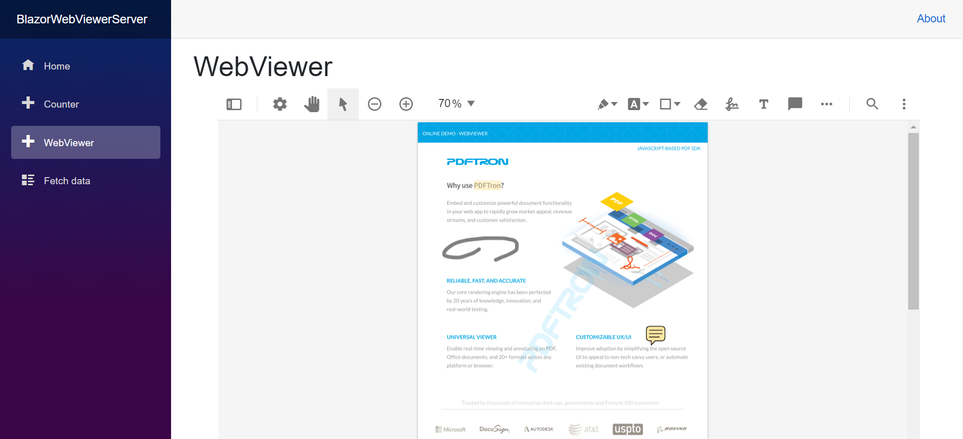 WebViewer integrated in Blazor sample
